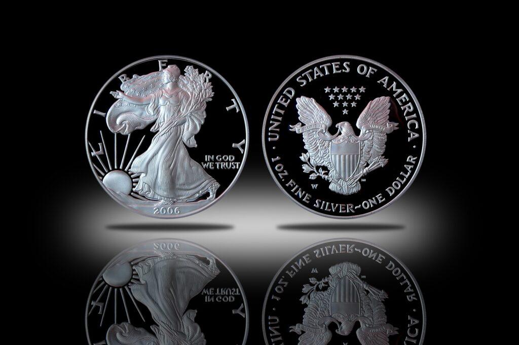Stříbrná mince American Silver Eagle ilustracni foto, zdroj Pixbay